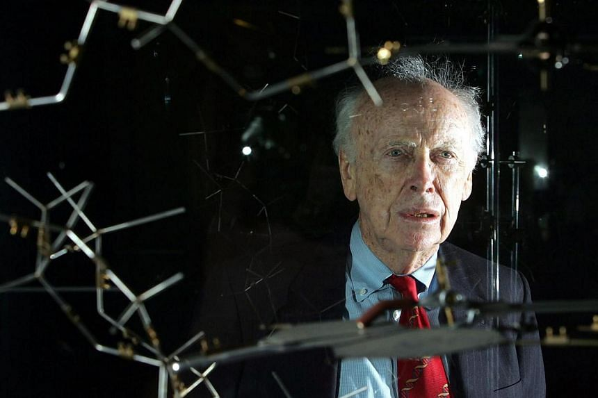 This May 20, 2005 file photo shows Dr James Watson with the original DNA model at the Science museum in London. -- PHOTO: AFP
