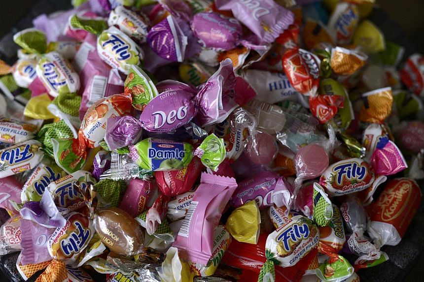 Candy made by Bulgaria's small Alpi candy factory in the town of Asenovgrad, south-west Bulgaria, on Nov 4, 2014. -- PHOTO: AFP