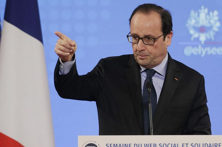 French President Francois Hollande delivers a speech during the Social Good Week event at the Elysee Palace in Paris on Dec 4, 2014. French President Francois Hollande will make an unscheduled stop in Moscow later on Saturday to discuss the Ukra
