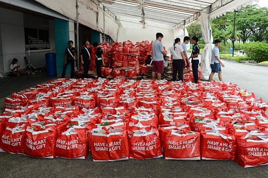 Contributions from members of the public packed up and ready to be delivered to the beneficiaries of The Boys' Brigade Share-a-Gift project. -- PHOTO: BOYS' BRIGADE