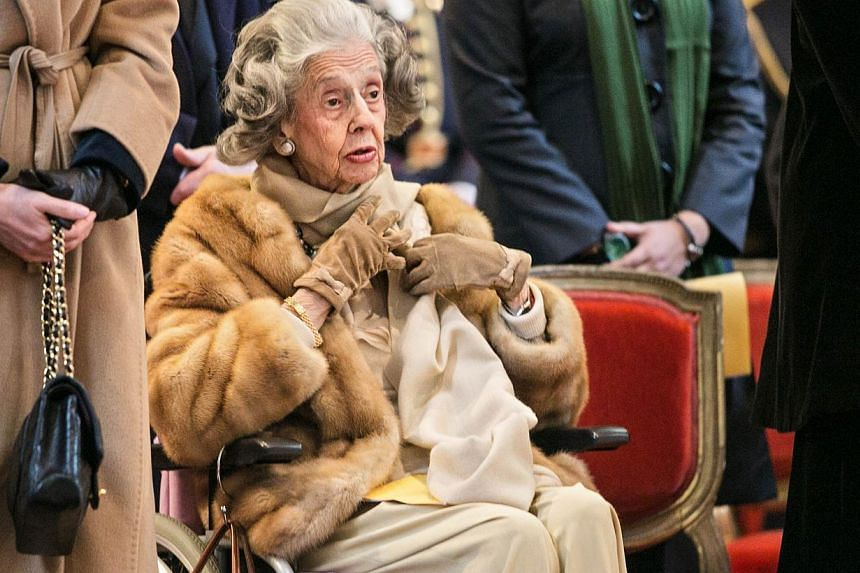 A file picture taken on Feb 19, 2013, shows Queen Fabiola of Belgium in a wheelchair during a special mass in memory of the deceased members of the Belgian Royal Family in Brussels. Belgium's former queen Fabiola died on Dec 5, 2014 at the age of 86.