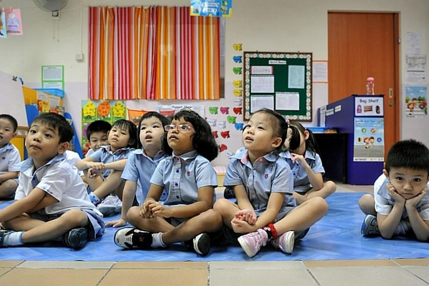 Pupils at the PAP Community Foundation Teck Ghee kindergarten on July 27, 2012. The North West Community Development Council said on Saturday that it had raised $240,000 in donations and will be using it to give bursaries to 1,200 kindergarten studen