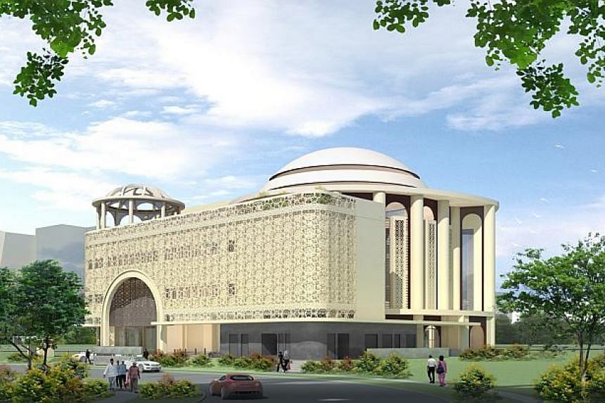 Artist impression of the new $18 million Maarof Mosque, located along Jalan Bahar. Muslim worshippers living and working in Jurong can look forward to a new mosque, which is on track for completion by the end of 2016. -- PHOTO: ISLAMIC RELIGIOUS COUN