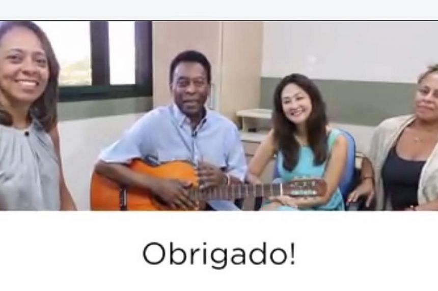 A screenshot from the video posted by Brazilian soccer great Pele. He said he was in good health in a video recorded at the Sao Paulo hospital where he has been treated for a urinary tract infection. -- PHOTO: FACEBOOK