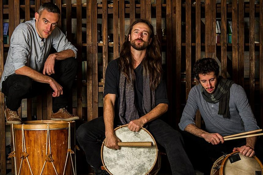 Kalakan's music spans three part chants, folk and dance music, to purely percussive interludes, mainly with roots in traditional Basque music, while borrowing rhythms and ideas from other cultures such as Brazil. -- PHOTO:THE ESPLANADE