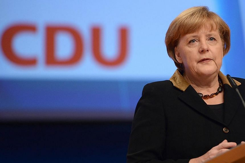 A majority of Germans want Angela Merkel to run for a fourth term as Chancellor and nearly three in four believe she would like to remain in office beyond 2017, when her current term ends, a new poll shows. -- PHOTO: AFP