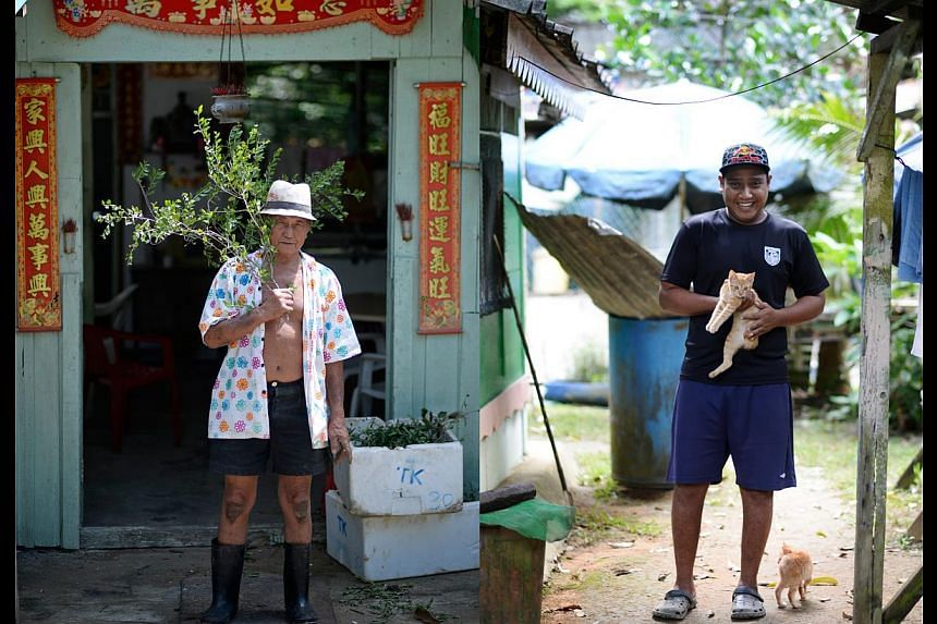Mr Tan Leong Kiat (left), 84, is the oldest resident on Pulau Ubin, and Mr Mohammad Fadil (right), 30, is the youngest. Mr Tan moved to the island because he wanted to plant herbs. Mr Mohammad, a bachelor, spent time on the island as a child, but mov