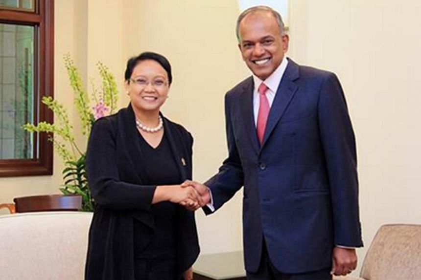 Singapore Foreign Minister and Minister for Law K. Shanmugam meeting Indonesian Foreign Minister Retno Marsudi in Singapore on Nov 26, 2014. Mr Shanmugam will be travelling to Jakarta as part of ongoing bilateral exchanges to strengthen ties between