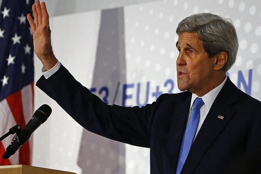 US Secretary of State John Kerry addresses a news conference after a meeting in Vienna on Nov 24, 2014 during talks with Iran over the latter's nuclear programme.The US and Britain participated on Dec 8, 2014, for the first time in a conference