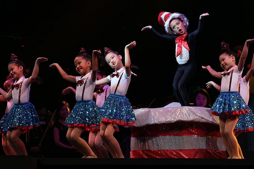 Six- and seven-year-olds from Jitterbugs Swingapore perform Cat In The Hat. Kennis Ang, 13, is immersed in the music as she plays Toccata from Suite Pour Le Piano by Claude Debussy. Show's highlights: The emcees (above from left) Chang Gah-Kay, 15; E