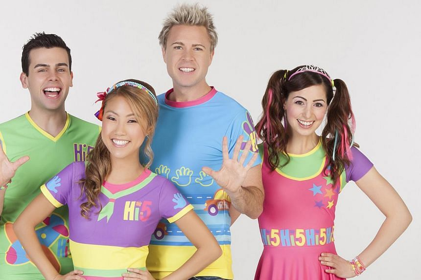 Tanika Anderson, the newest member of the children's musical group Hi-5, with (from left) Ainsley Melham, Dayen Zheng, Stevie Nicholson and Mary Lascaris. -- PHOTO: HI-5 OPERATIONS