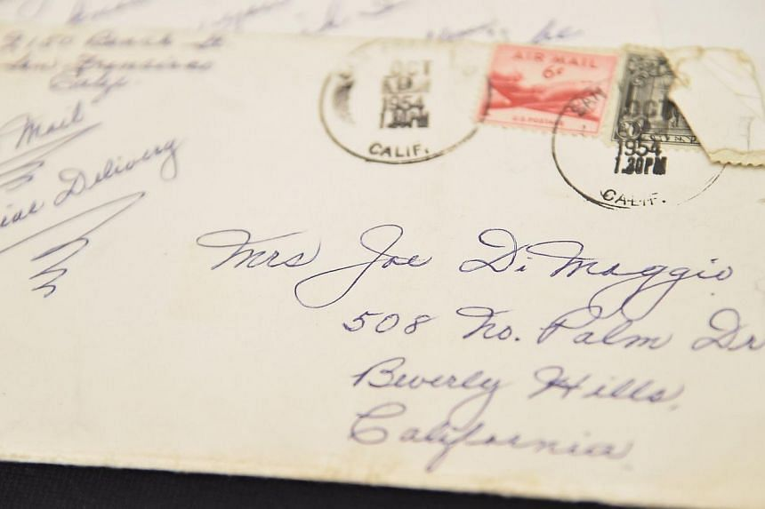 A view of a love letter written by Marilyn Monroe's ex-husband Joe Dimaggio as part of the Lost Archives of Marilyn Monroe on November 25, 2014 in New York City. -- PHOTO: AFP