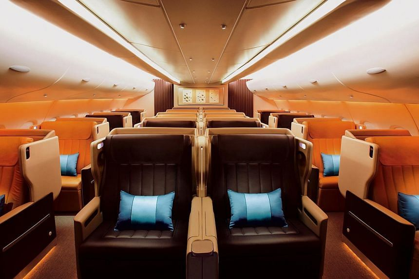 The Business Class cabin aboard the A380 Singapore Airlines (SIA). -- PHOTO:SINGAPORE AIRLINES