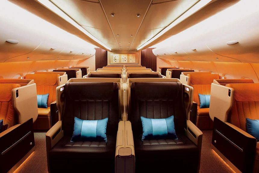 The Business Class cabin aboard the A380 Singapore Airlines (SIA). -- PHOTO: SIA