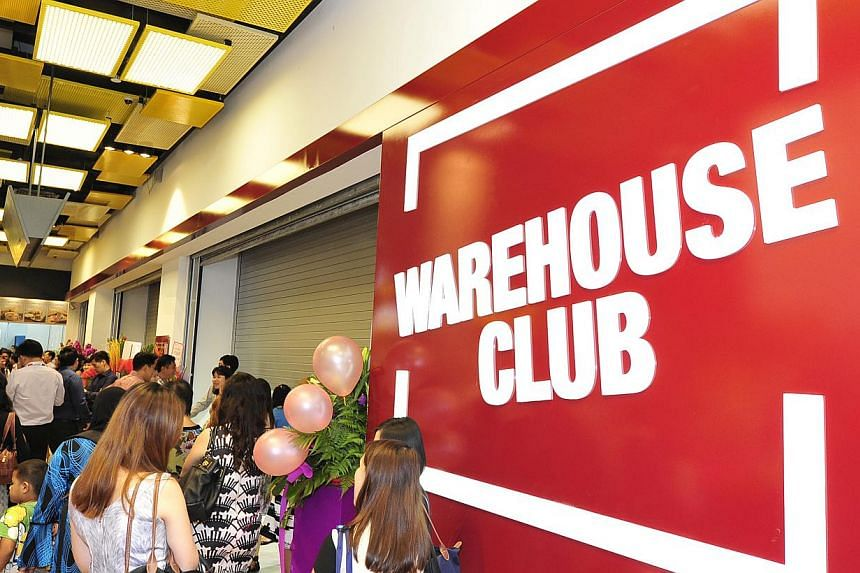 The main entrance to Fairprice's newly-opened Warehouse Club on the second level. -- PHOTO: DIOS VINCOY JR FOR THE STRAITS TIMES