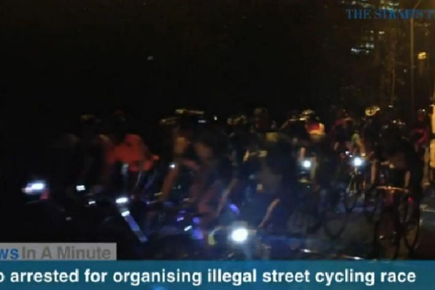 In today's News In A Minute, we look at two men, aged 28 and 39, that have been arrested for their suspected involvement in promoting and organising an illegal cycling race along Tanglin Halt Road. -- PHOTO: SCREENGRAB FROM RAZORTV