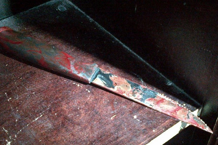 A blood-stained nine-inch (23 cm) knife is seen after being recovered at the scene of a stabbing at a Brooklyn synagogue, in a picture provided by the New York Police Department on Dec 9, 2014.A worshipper was stabbed in the head while praying