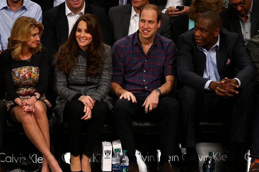 Prince William, Duke of Cambridge (second, right) and Catherine, Duchess of Cambridge (second, left) watch the game between the Cleveland Cavaliers and the Brooklyn Nets at Barclays Center on Dec 8, 2014 in the Brooklyn borough of New York City.&nbsp