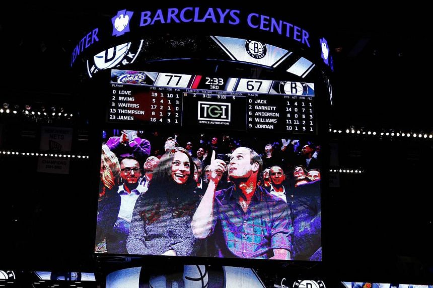 A detailed view of Prince William, Duke of Cambridge and Catherine, Duchess of Cambridge on the Jumbotron duirng the game between the Cleveland Cavaliers and the Brooklyn Nets at Barclays Center on Dec 8, 2014 in the Brooklyn borough of New York City