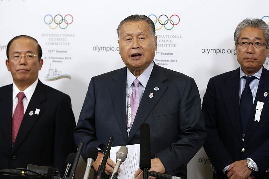 (From left to right) Toshiro Muto, Chief Executive Officer of the Tokyo Organising Committee of the Olympic and Paralympic Games (Tokyo 2020), Yoshiro Mori, Japan's former Prime Minister and president of Tokyo 2020 and Tsunekazu Takeda, president of