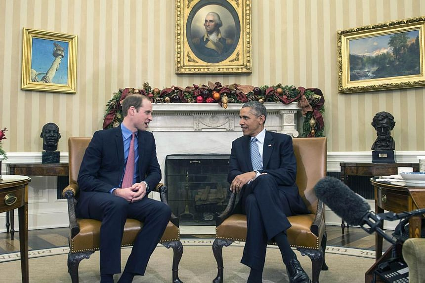 US President Barack Obama meets with Britain's Prince William, Duke of Cambridge, in the Oval Office at the White House in Washington on Monday. William and his wife Catherine are on a three-day visit to the United States. -- PHOTO: AFP