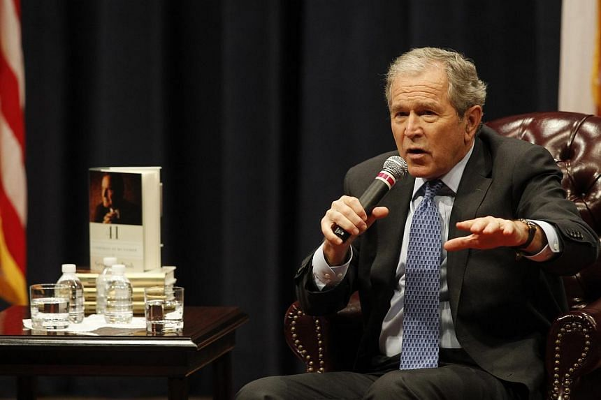 Former US President George W. Bush speaks at the George Bush Presidential Library Centre in College Station, Texas, on Nov 11, 2014. Mr Bush was only given details of the torture being used by the Central Intelligence Agency four years into the bruta