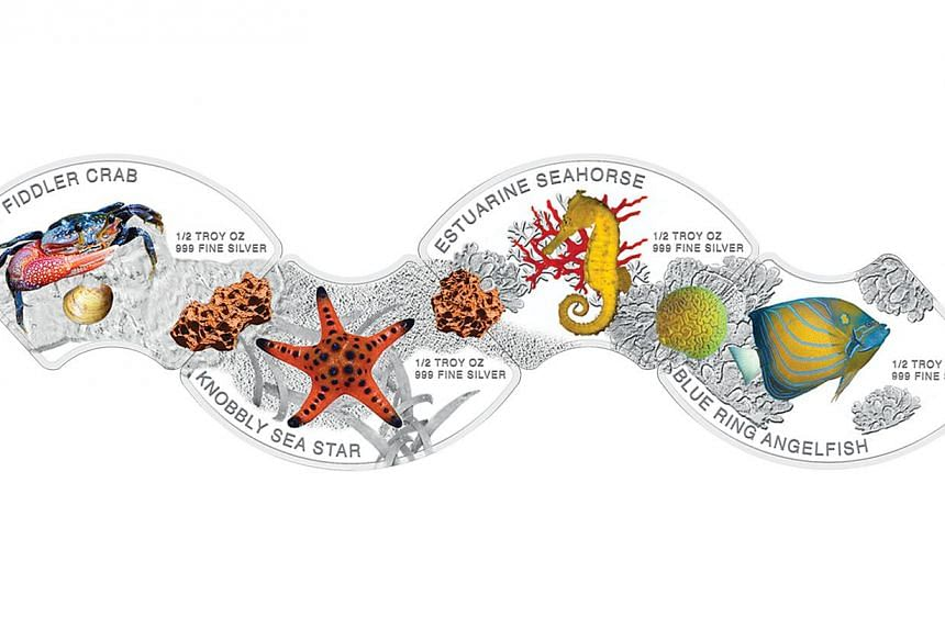 The front of the four marine life-themed coins. When connected, they form the shape of a wave. -- PHOTO: THE SINGAPORE MINT