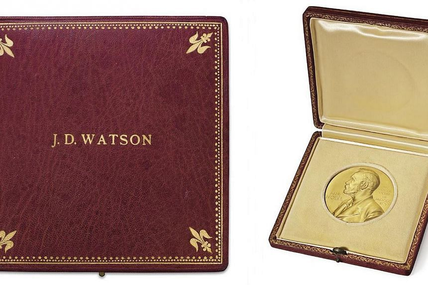 The Nobel Prize medal auctioned by Christie's on Dec 3, 2014. -- PHOTO: CHRISTIE'S IMAGES LTD 2014