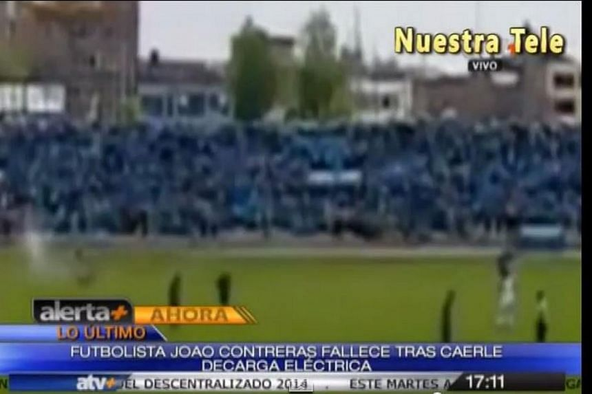 A Peruvian player is recovering in hospital after being struck by lightning during a Copa Peru match between his Sport Aguila side and visitors Union Fuerza Mineira, the away club and local media reports said on Wednesday. -- PHOTO: SCREENSHOT FROM Y