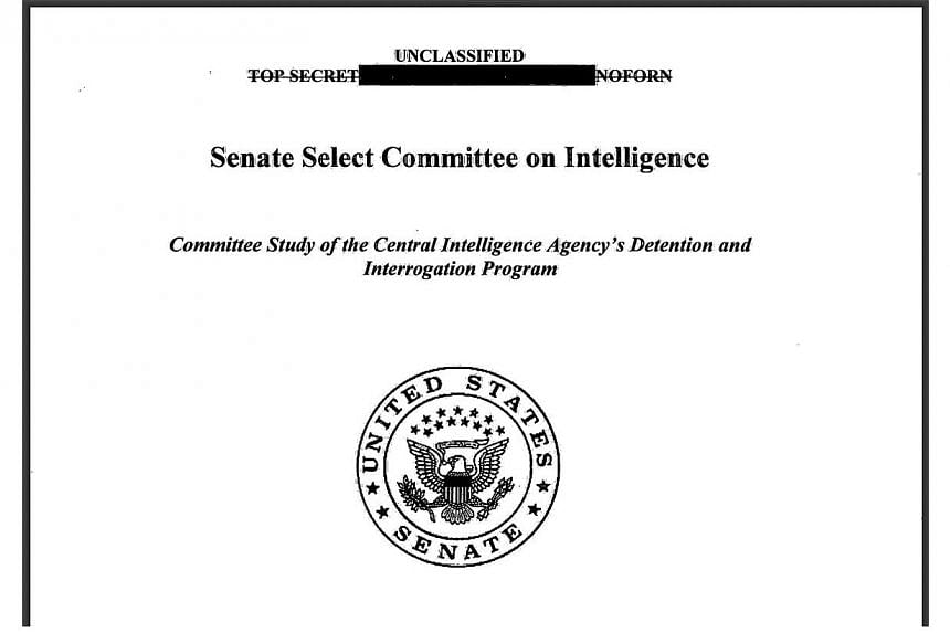 The front page of the report on the Central Intelligence Agency's Detention and Interrogation Programme. -- PHOTO: AFP