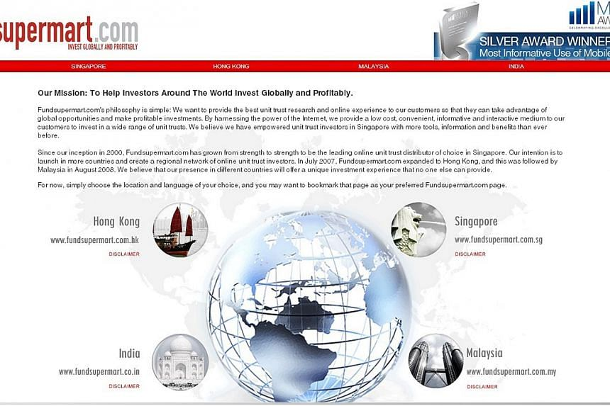 iFast Corporation is perhaps best known for its online trading platform Fundsupermart.com (pictured). -- PHOTO: SCREENGRAB FROM FUNDSUPERMART.COM