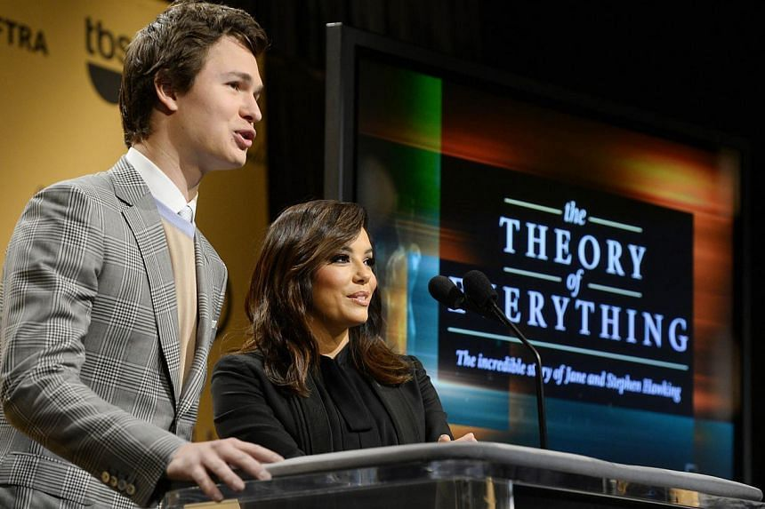 Actors Ansel Elgort and Eva Longoria announce the nominees for the 2015 Screen Actors Guild Awards, Dec 10 2014. Dark comedy Birdman scored the most nomination, with nods in four categories including best movie cast.-- PHOTO: AFP