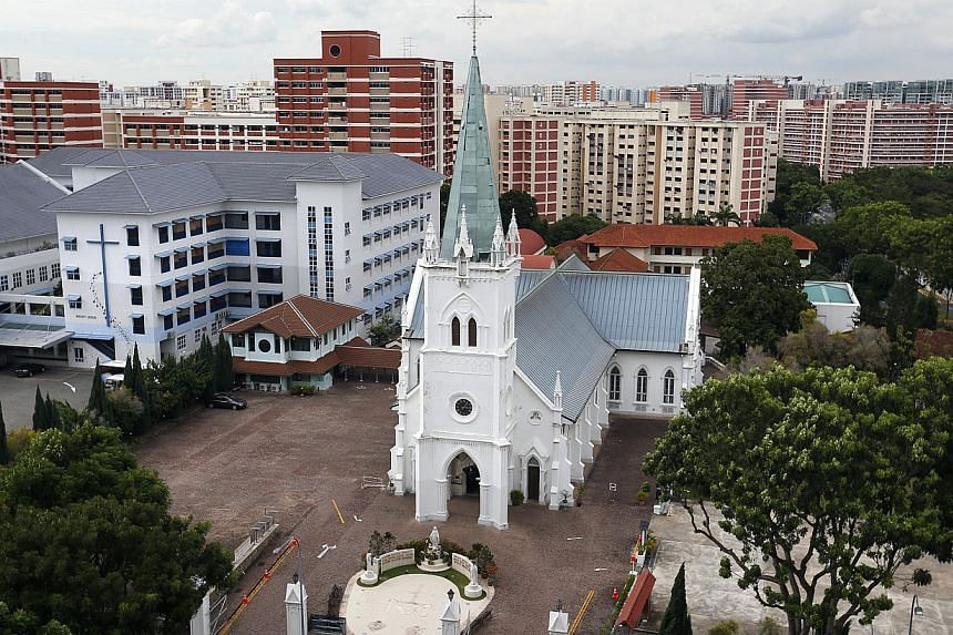 A picture of the Catholic Church of Nativity of the Blessed Virgin Mary, at Upper Serangoon Road. The Ministry of National Development has sought views on housing several places of worship of the same religion under one roof. -- PHOTO: ST FILE