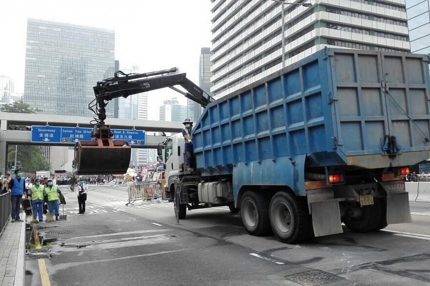 Connaught Road outside Hong Kong City Hall has been cleared. -- PHOTO: PEARL LIU