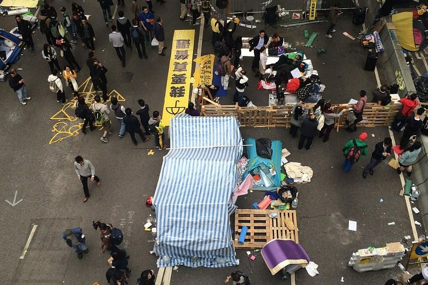 The scene at the Admiralty protest site in Hong Kong on Dec 11, 2014. -- ST PHOTO: LI XUEYING