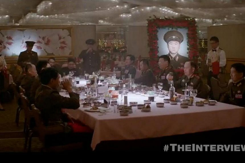 A still from The Interview. Sony will limit media access to the premiere of the North Korea spoof after a massive cyber attack that some speculate is linked to the film. -- PHOTO: SONY/YOUTUBE