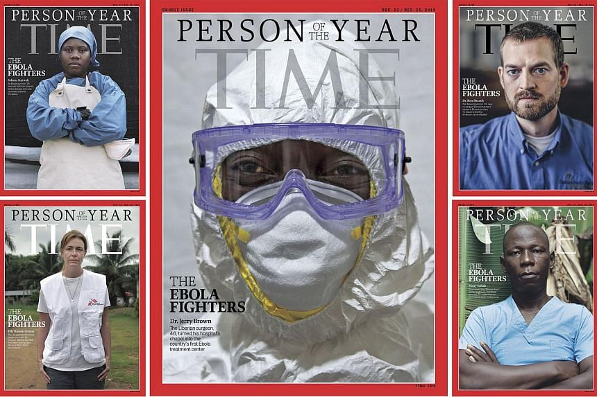 This image courtesy of Time shows the cover of the issue for the Person of the Year in 2014, featuring those fighting the Ebola virus. -- PHOTO: AFP