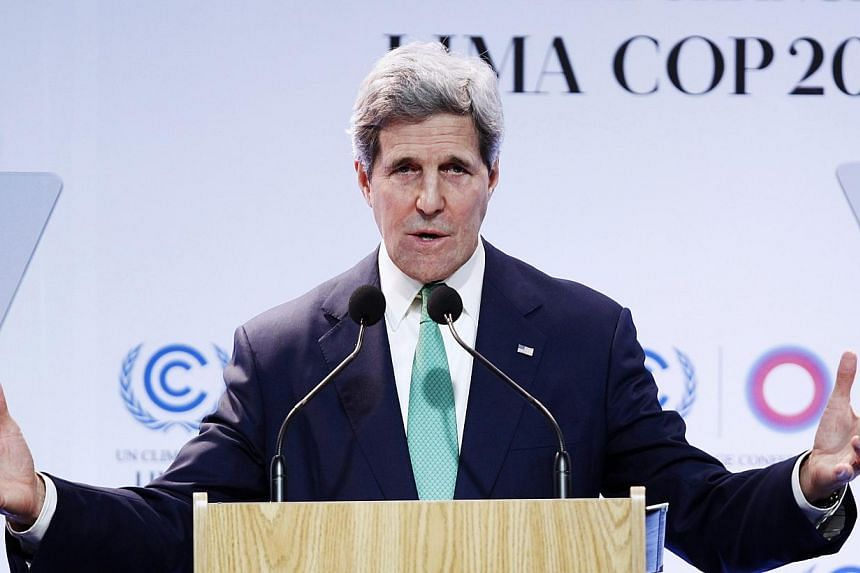In a speech touching on one of the thorniest issues, US Secretary of State John Kerry called on developing nations to understand they too had to curb carbon emissions even if they felt it was unfair. -- PHOTO: REUTERS