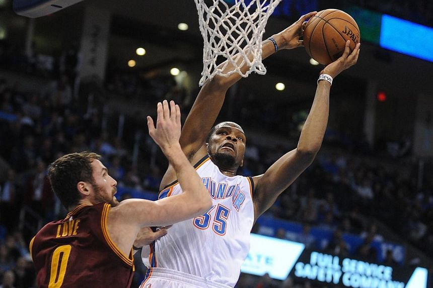 Russell Westbrook and Kevin Durant (pictured) combined for 45 points and 13 assists as the Thunder closed out their fourth straight win. -- PHOTO: MARK D. SMITH-USA TODAY SPORTS