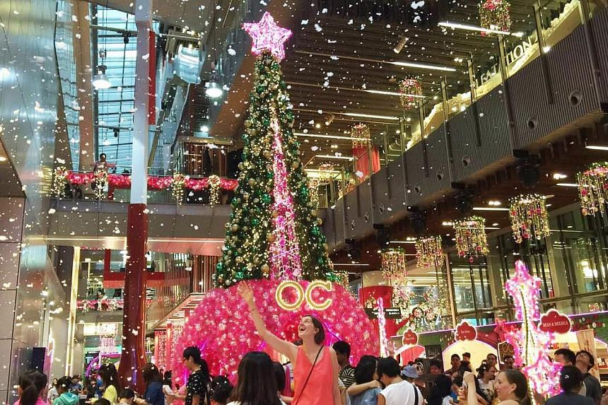Some 10 gallons of snow foam will fall inside Orchard Central shopping mall this year, to get shoppers in the festive mood. -- PHOTO: ORCHARD CENTRAL