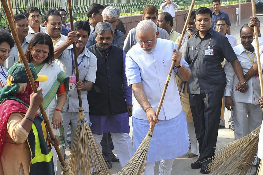 Mr Modi's hands-on, folksy approach, such as cleaning a road as he launched the Clean India Mission, is a potent weapon in the battle for reforms.
