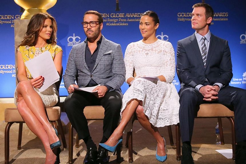 (From left) Actors Kate Beckinsale, Jeremy Piven, Paula Patton and Peter Krause at the 72nd Annual Golden Globe Awards Nominations Announcement at The Beverly Hilton Hotel on Dec 11, 2014 in Los Angeles, California. -- PHOTO: AFP