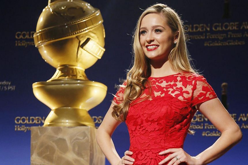 Miss Golden Globe Greer Grammer posing at the announcement of nominations for the 72nd annual Golden Globe Awards in Beverly Hills, California on Dec 11, 2014. -- PHOTO: REUTERS