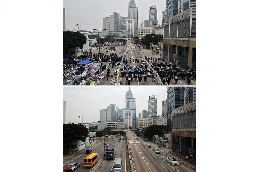 This combo shows a photo taken on Dec 11, 2014, (top) of Hong Kong police forming a line at the end of a flyover as they prepare to clear the area of the pro-democracy protest camp in the Admiralty district of Hong Kong, and then the same area 24 hou