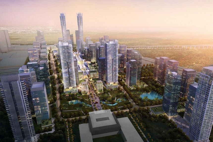 An artist's impression of Danga Heights in Johor, Malaysia. The weaker ringgit is expected to attract more Singaporeans to Johor to invest in property. --PHOTO: ISKANDAR WATERFRONT HOLDINGS