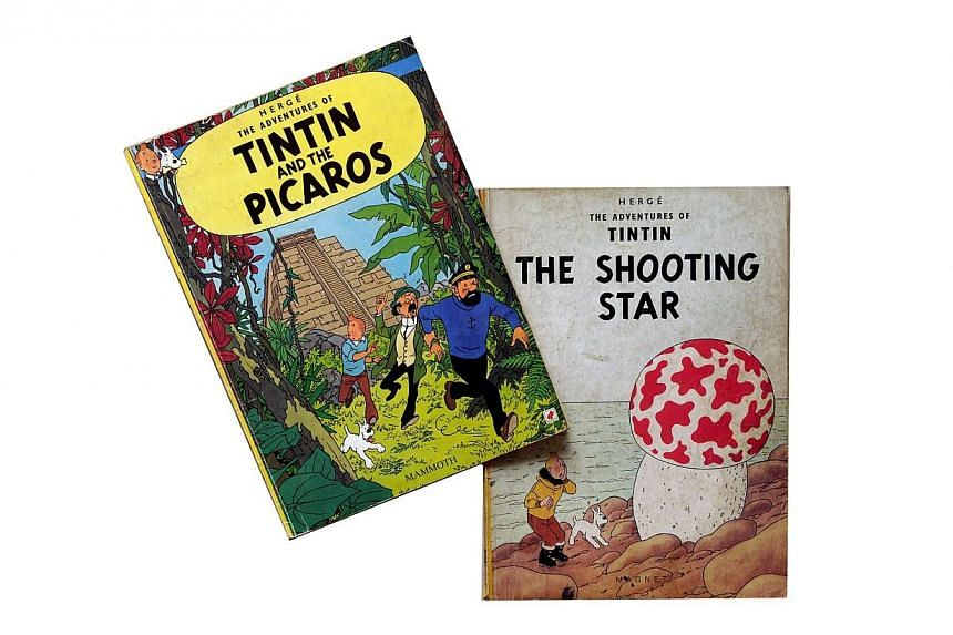 Tintin And The Picaros and Tintin: The Shooting Star. Some 101 French and Belgian comics, including a rare 1939 India ink and crayon drawing of the adventures of iconic boy hero Tintin, go to auction on Sunday in Brussels. -- PHOTO: ST FILE