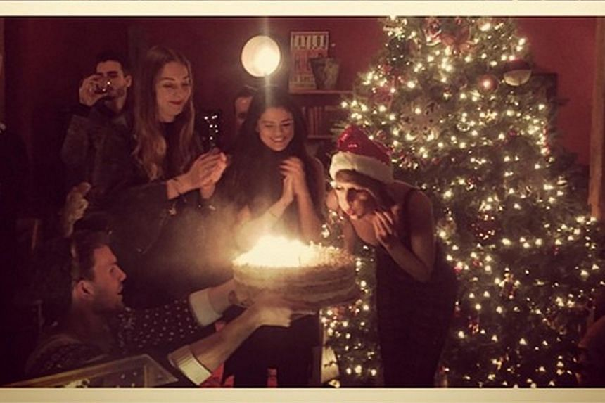 Taylor Swift celebrating her 25th birthday at her Tribeca apartment. Guests included Justin Timberlake, Beyonce, Jay-Z, Iggy Azalea and Selena Gomez. -- PHOTO: TAYLOR SWIFT/INSTAGRAM