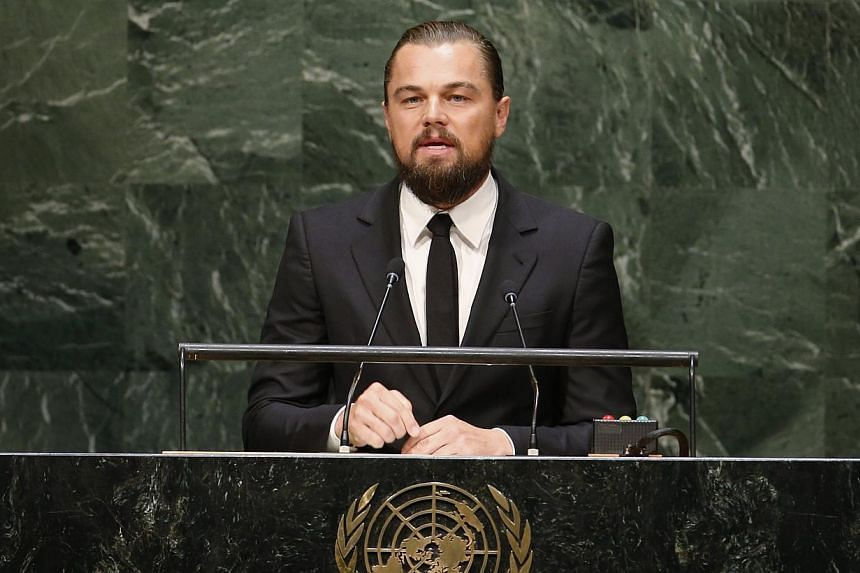 US actor and UN Messenger of Peace Leonardo DiCaprio speaks during the Climate Summit at United Nations Headquarters in New York, in this Sept 23, 2014, file photo. -- PHOTO: REUTERS