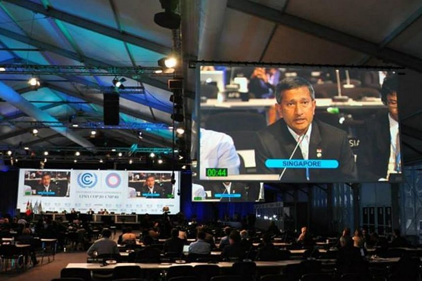 Environment and Water Resources Minister Vivian Balakrishnan making an intervention at the United Nations Climate Change Conference in Lima, Peru. -- PHOTO: VIVIAN BALAKRISHNAN/FACEBOOK