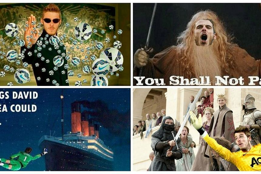 Some of the memes honouring Manchester United goalkeeper David de Gea's brilliant display against Liverpool. -- PHOTOS: TWITTER